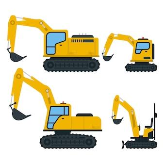 Collection of drawn yellow excavators
