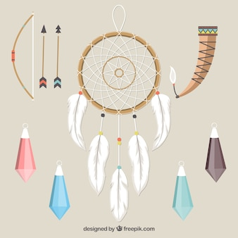 Collection of dreamcatchers and other ethnic elements