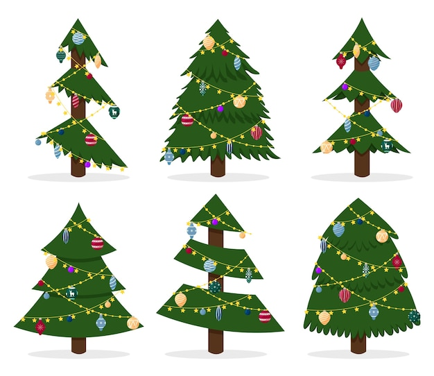 Collection of dressed upchristmas tree