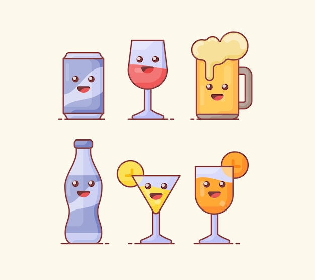 Collection of drink beverage icon isolated on beige