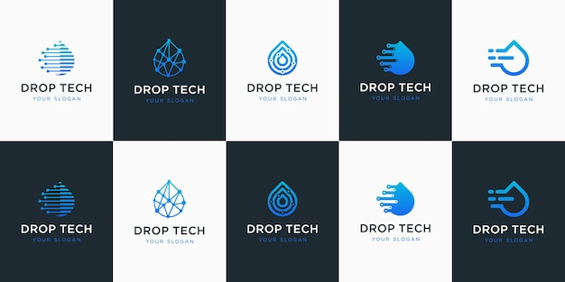 Collection of drop tech with line art style.