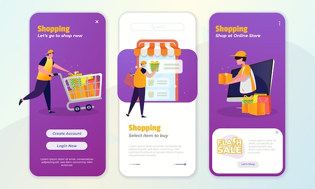 Collection of e commerce application concept