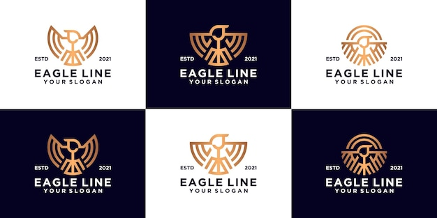Collection of eagle logo designs in luxury line art style
