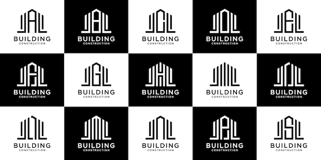 Collection of early letter alphabet building logo with linear and real estate concepts