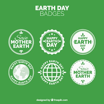 Collection of earth day vintage stickers