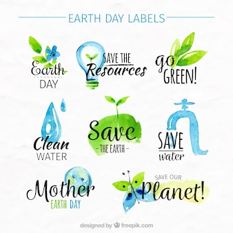 Collection of earth day watercolor stickers