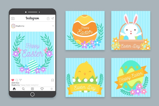 Collection of easter day illustrated instagram posts