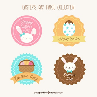 Collection of easter labels in flat design