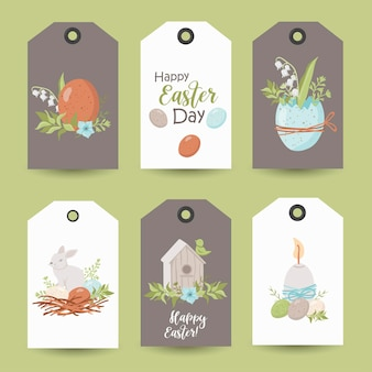 Collection of easter tags. printable cards templates.