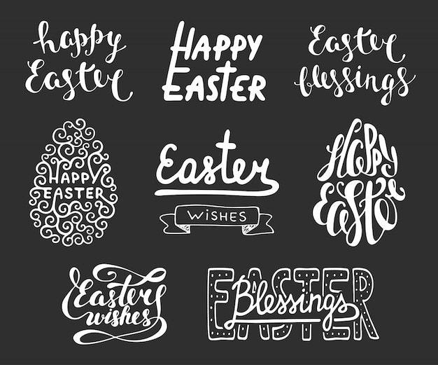 Collection of easter typography