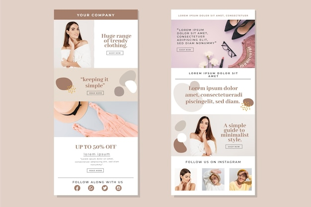Collection of ecommerce email template with photos