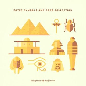 Collezione di divinità e simboli egiziano