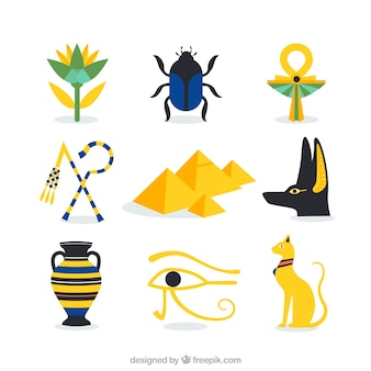 Collection of egyptian culture elements