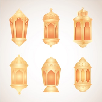Collection, eid al adha mubarak, golden lanterns decoration