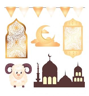 Collection, eid al adha mubarak icons decoration