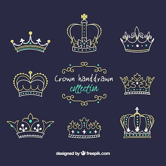 Collection of eight crowns in hand-drawn style