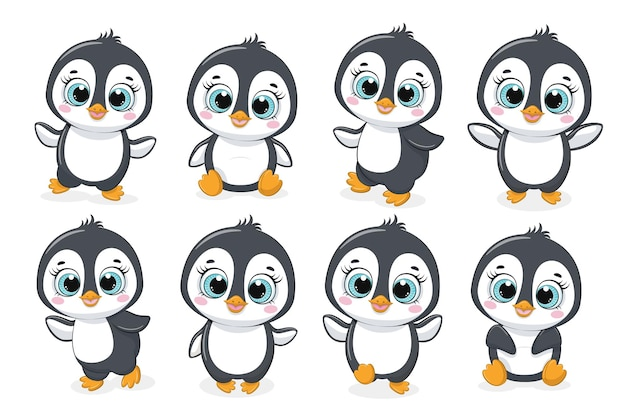 A collection of eight cute penguins. vector illustration of a cartoon.