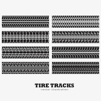 Collection of eight tire track marks