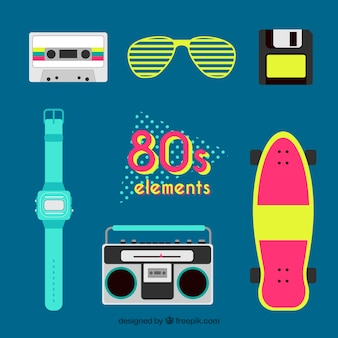 Collection of eighties elements in flat design