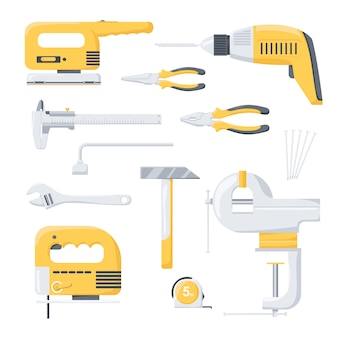 Collection of electric and mechanical power repair worker tools. power tools. hand tools.