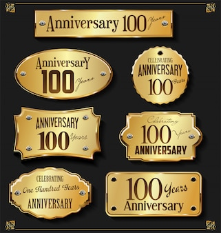 Collection of elegant anniversary golden labels