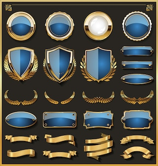 Collection of elegant blue and golden badges