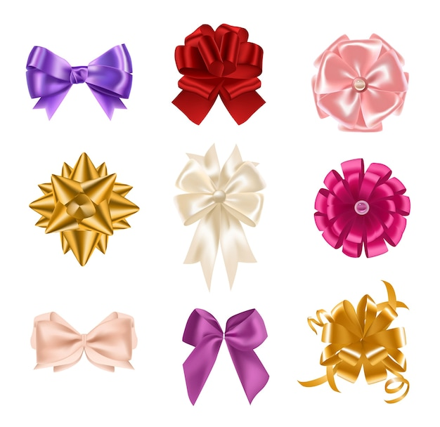 Collection of elegant colorful realistic silk bows of different types isolated on white