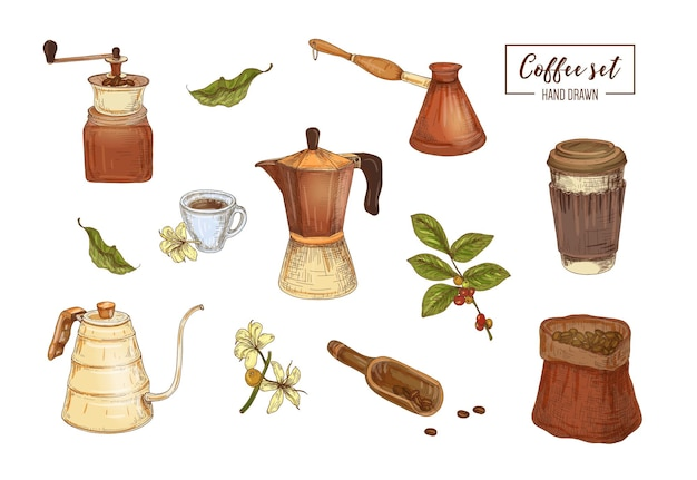 Collection of elegant drawings of tools for coffee brewing - moka pot, grinder, swan neck pour over kettle, cezve, takeout cup, bag, scoop, coffee plant. realistic hand drawn vector illustration.