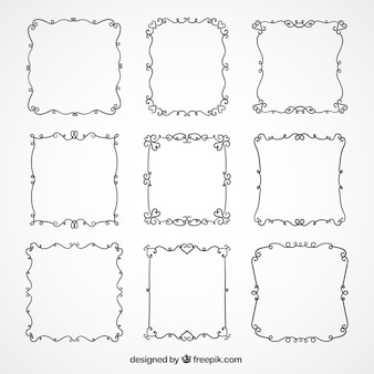Collection of elegant frames with floral details