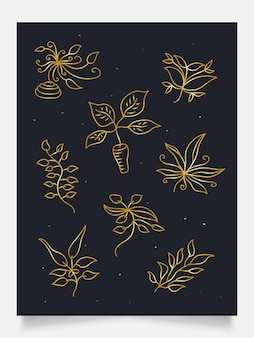 Collection of elegant gold floral ornaments, suitable for wall decoration, wallpaper, cover, invitation, banner, brochure, poster, packaging, or card