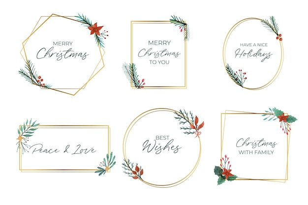 Collection of elegant golden christmas frames