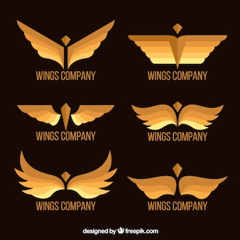 Collection of elegant golden wings logos