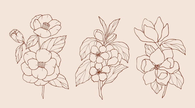 Collection of elegant hand drawn flowers