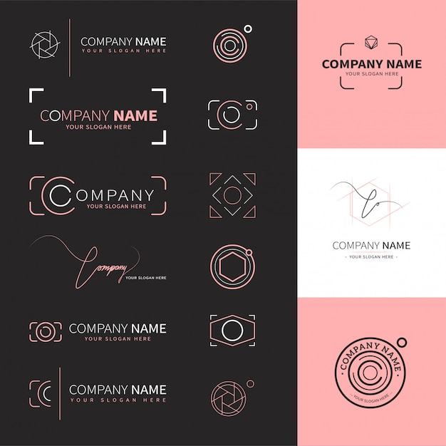 Collection of elegant and modern logos for photographers