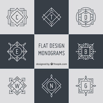 Collection of elegant monograms in linear style
