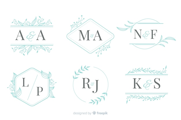 Collection of elegant ornamental wedding monogram