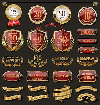 Collection of elegant red and gold anniversary badges a