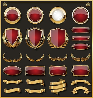 Collection of elegant red and golden badges