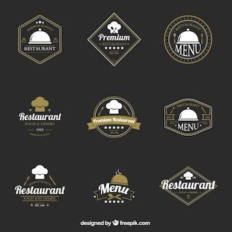 Collection of elegant restaurant vintage logotype Premium Vector