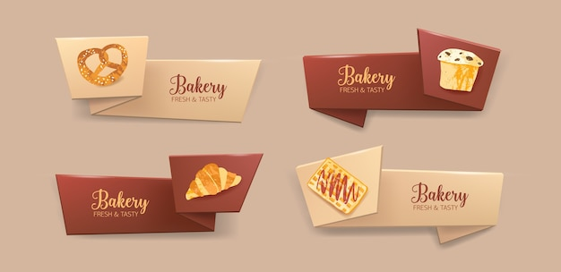 Collection of elegant ribbons with delicious pastry or baked products - pretzel, muffin, croissant, waffle. colorful decorative elements