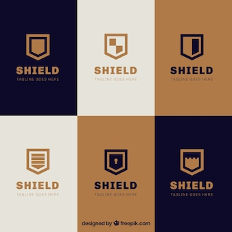 Collection of elegant shields logos