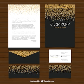 Collection of elegant stationery with glitter
