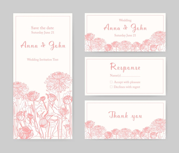 Collection of elegant templates for flyer, save the date card or wedding invitation with beautiful japanese chrysanthemum flowers hand drawn with pink lines on white background. vector illustration.