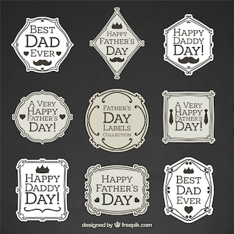 Collection of elegant vintage father's day badge