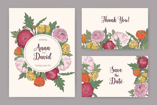 Collection of elegant wedding invitation, save the date card and thank you note templates decorated with blooming pink, orange and yellow ranunculus flowers and leaves.