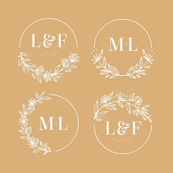 Collection of elegant wedding logos