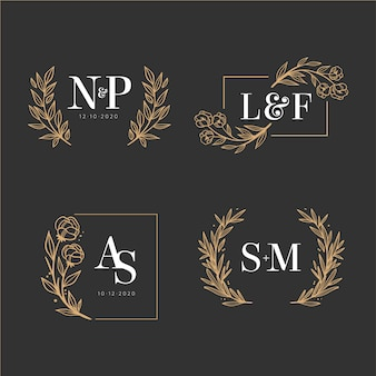 Collection of elegant wedding monograms
