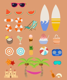 Collection of element for summer set pack. a group of summer set.