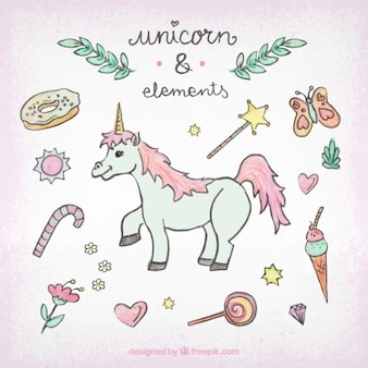 Collection element and sweet with unicorn