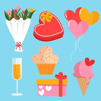 Collection of elements for valentine day